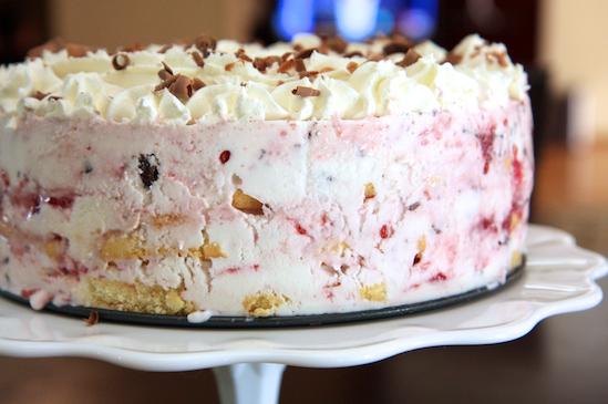 Raspberry and Chocolate Frozen Greek Yogurt Cake