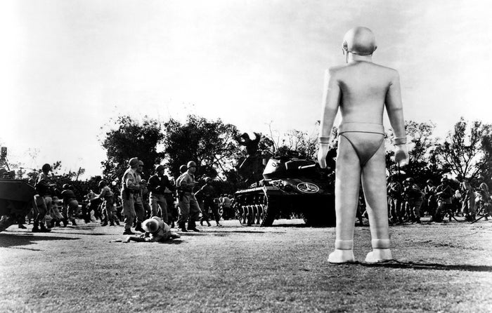 The plot: Klaatu, a humanoid alien, and his giant metal robot guardian Gort come to Earth to deliver a simple but foreboding message: Human development of atomic weapons is so threatening to other planets that they are prepared to annihilate Earth because of them.The message: Nuclear warfare is the worst. Don't do it.