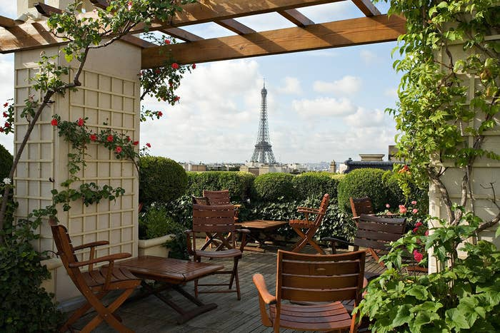 The garden terrace at the Hôtel Raphael is a gorgeous place to grab a drink on a sunny day with views of the Eiffel Tower and Arc du Triomphe. If you want to to grab a meal, reservations are encouraged.17 avenue Kleber, 75016Tel: +33 01 53 64 32 00Hours: Bar open daily 4:00 pm - 11:00 pm; Lunch: Mon-Fri 12:30 pm - 2:00 pm; Dinner: 7:30 pm - 10:00 pm (June only)