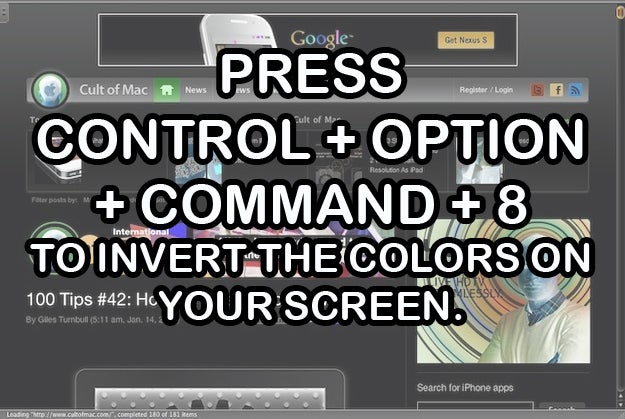 """Just press Command + Option + Control + 8 again to switch it back.Note that this feature is by default disabled on Mountain Lion, so you'll have to go to System Preferences > Keyboard > Shortcuts > Accessibility to turn on the feature (just check the box that says """"Invert Colors"""")."""