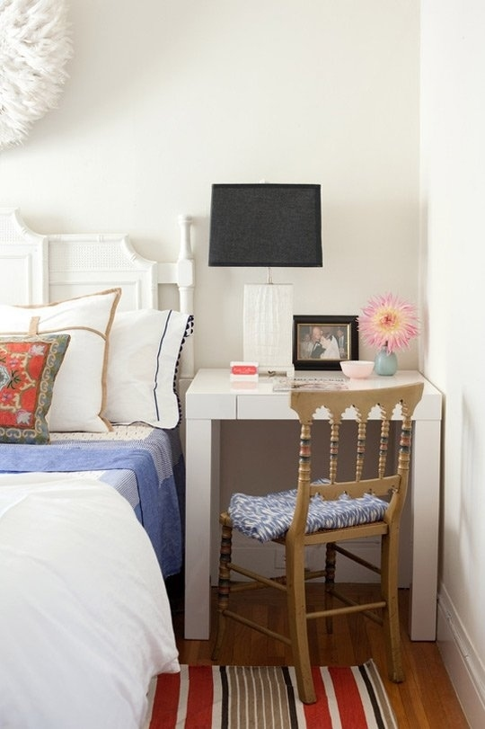 Disguise your desk as a bedside table.