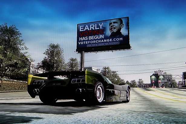 Obama Campaigns In Burnout Paradise