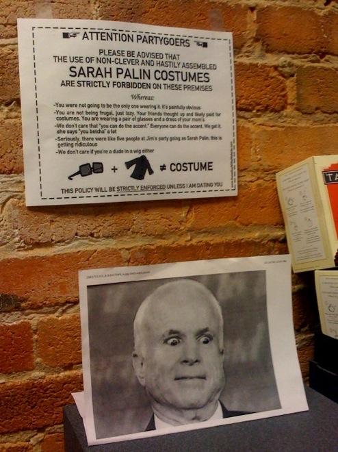 No Sarah Palin Costumes!