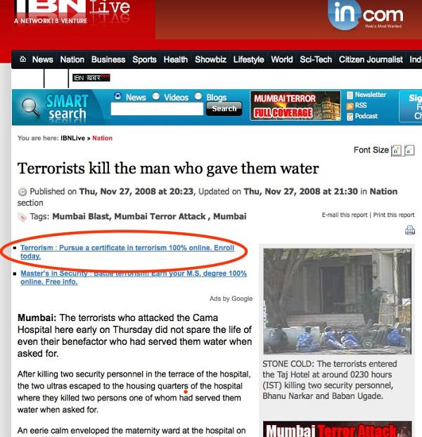 Terrorism Google Ad