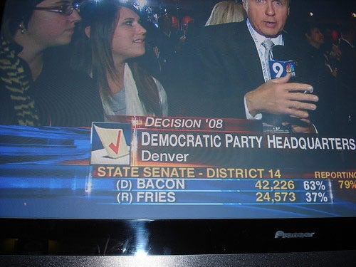 We're still awaiting the impact of the election on pork barrel-related puns within the Colorado media.