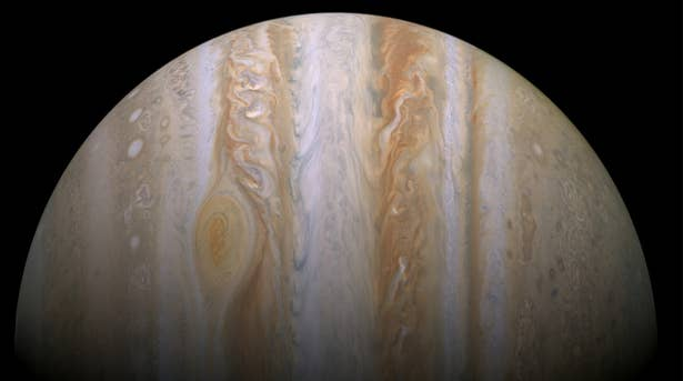 This image was take in 2000, but Jupiter's giant red spot has since swallowed the smaller one.