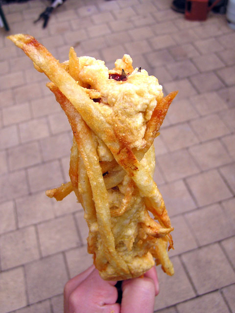 French-Fry Coated Hot Dog on a Stick