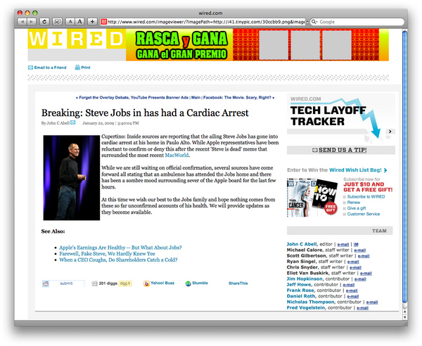 Steve Jobs' Fake Cardiac Arrest