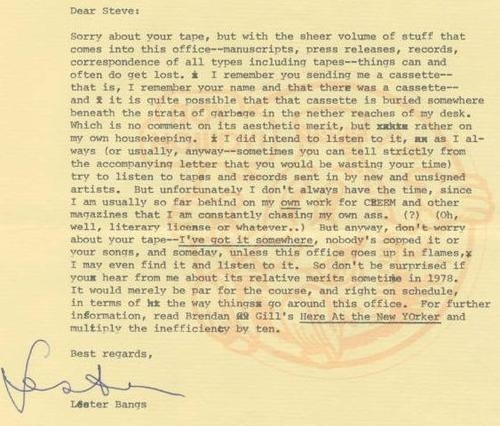 Lester Bangs Apologizes