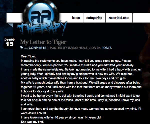 Ron Artest's Open Letter To Tiger