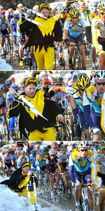 Lance Armstrong Attacked By Giant Syringes
