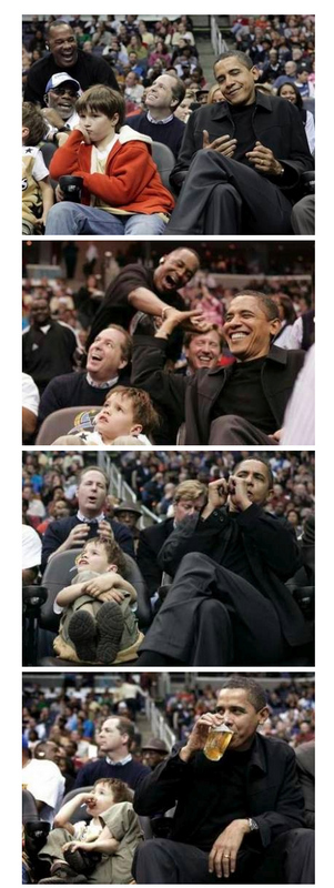 Barack at the Wizards Game