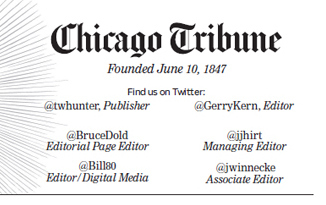 Chicago Tribune Masthead Twitters