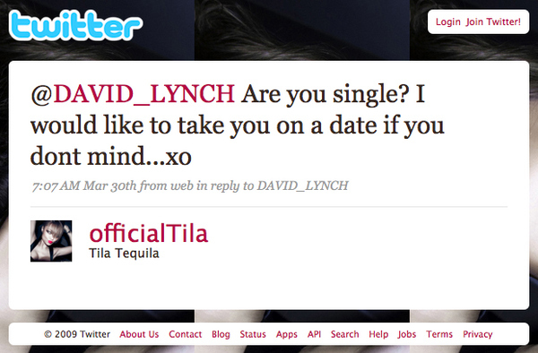 Tila Tequila Twitter-Hits On David Lynch