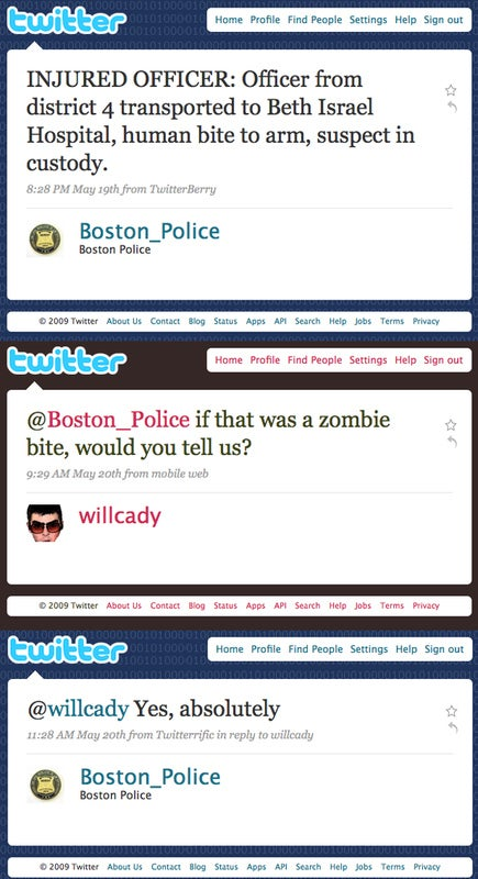 Thank you Twitter - and thank you Boston's finest. Assuming you're not all zombies already.
