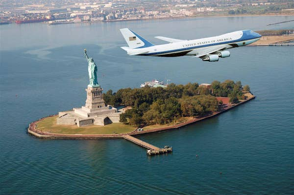 Yes, this one's brought to you by Photoshop. Click through for a whole slew of other Air Force One landmark flyovers.