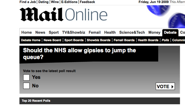 Racist Daily Mail Poll