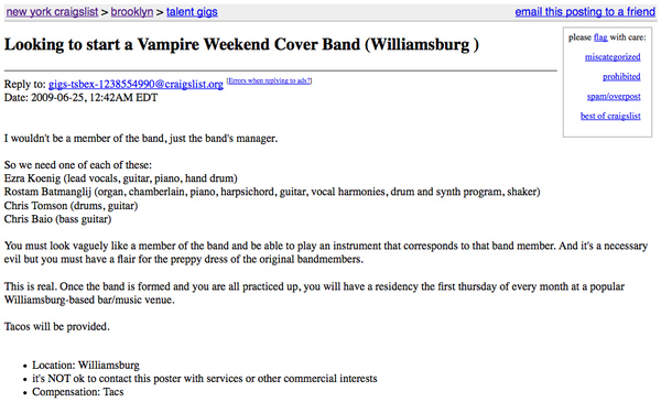Starting A Vampire Weekend Cover Band