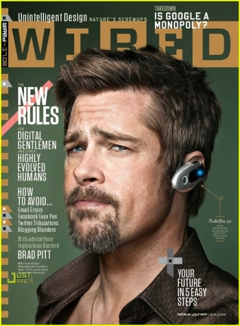 Brad Pitt Wearing Bluetooth, Looking Old