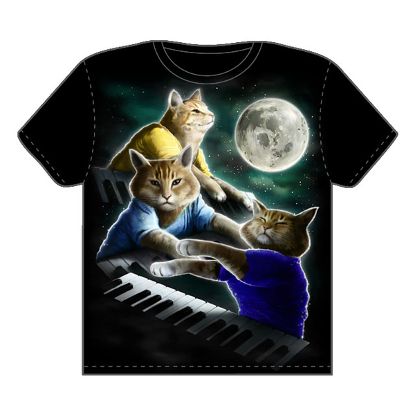 Three Keyboard Cat Moon T-Shirt