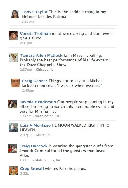 Best Facebook Updates From Michael Jackson's Memorial