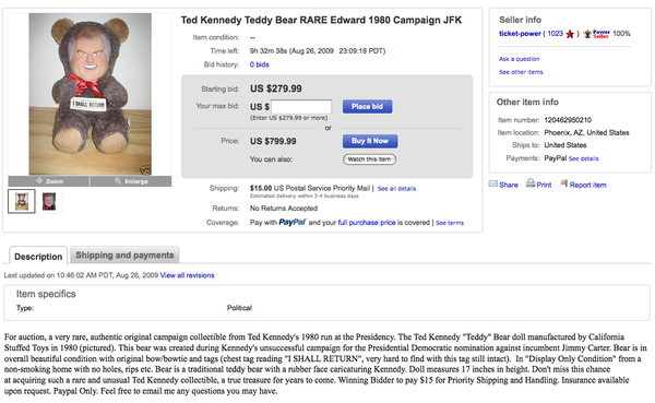 Creepy Ted Kennedy Campaign Bear For Sale