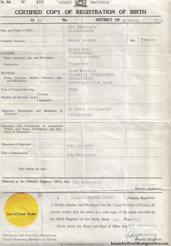 DIY Kenyan Birth Certificates