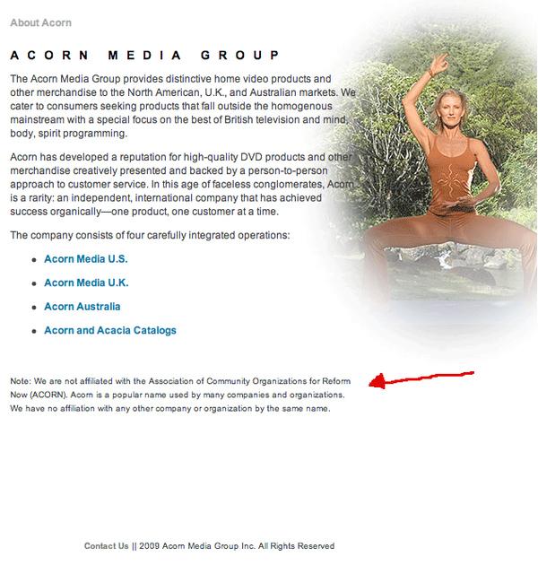Acorn Disclaimer