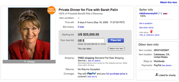 Dine With Sarah Palin (For $25K)