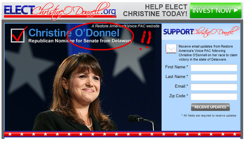 Elect Christine O'Donnell.org Can't Spell Christine O'Donnell