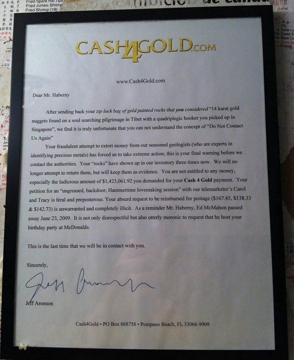 Why is Cash4Gold Being So Mean to Mr. Haberny?