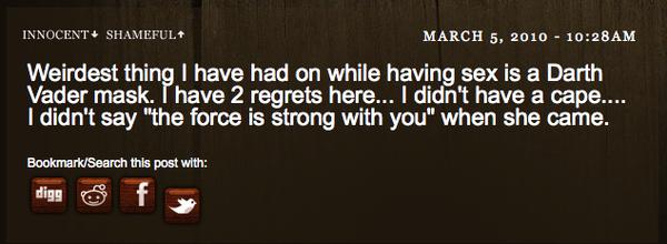 Sex With Darth Vader Mask: Regrets