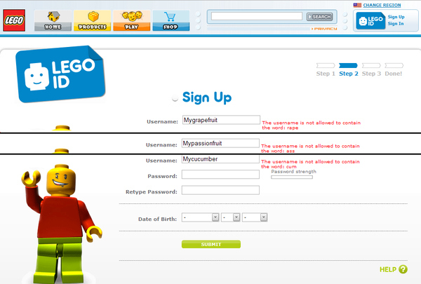 Lego's Overly Restrictive Signup Page