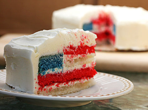 Red, White, And Blue: 4th Of July Flag Cake