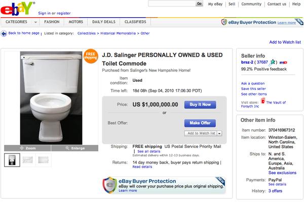 Buy JD Salinger's Toilet (For $1 Million)