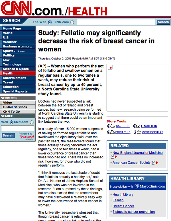 Fellatio May Significantly Decrease the Risk of Breast Cancer in Women