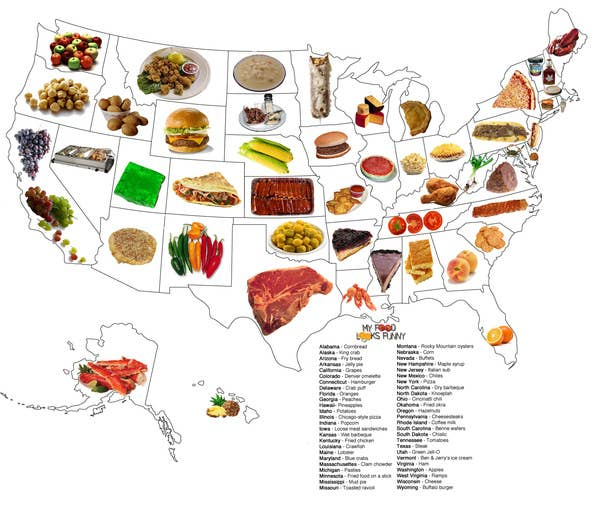Food map of the united states share on facebook share sciox Gallery