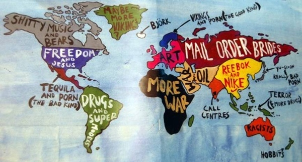 Dumb College Kid's Map Of The World
