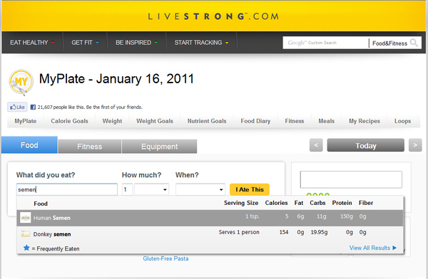 Livestrong.com's Calorie Counter Is VERY Specific