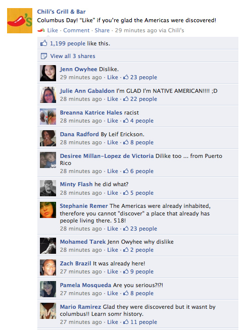 Chili's Columbus Day Facebook Status Backfires