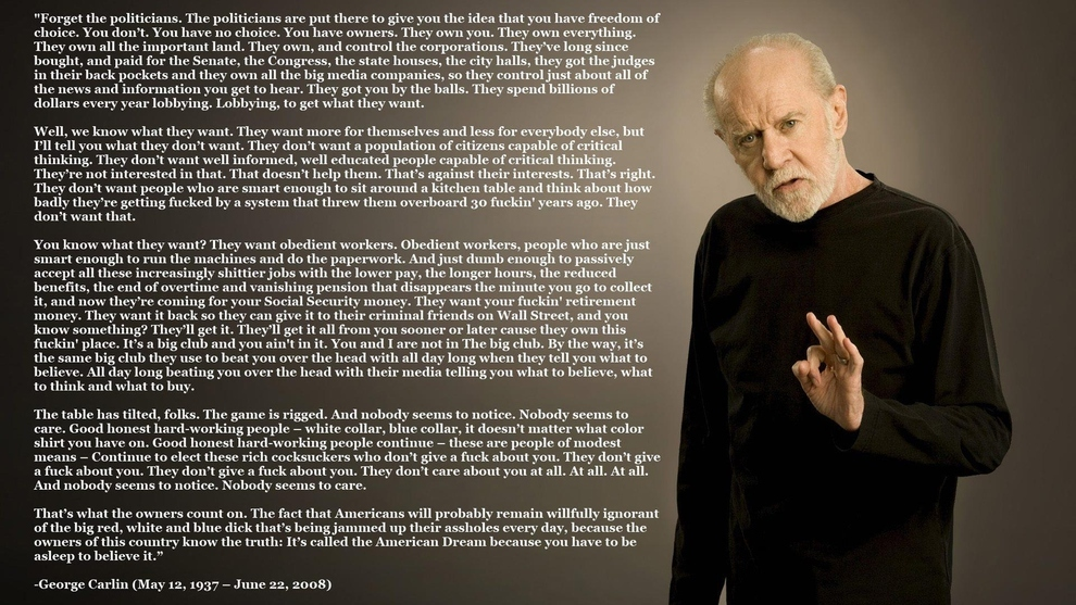 What Would George Carlin Say About #OccupyWallStreet?