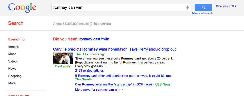What Does Google Think Of Mitt Romney's Chances?