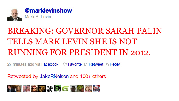 Sarah Palin Not Running For President