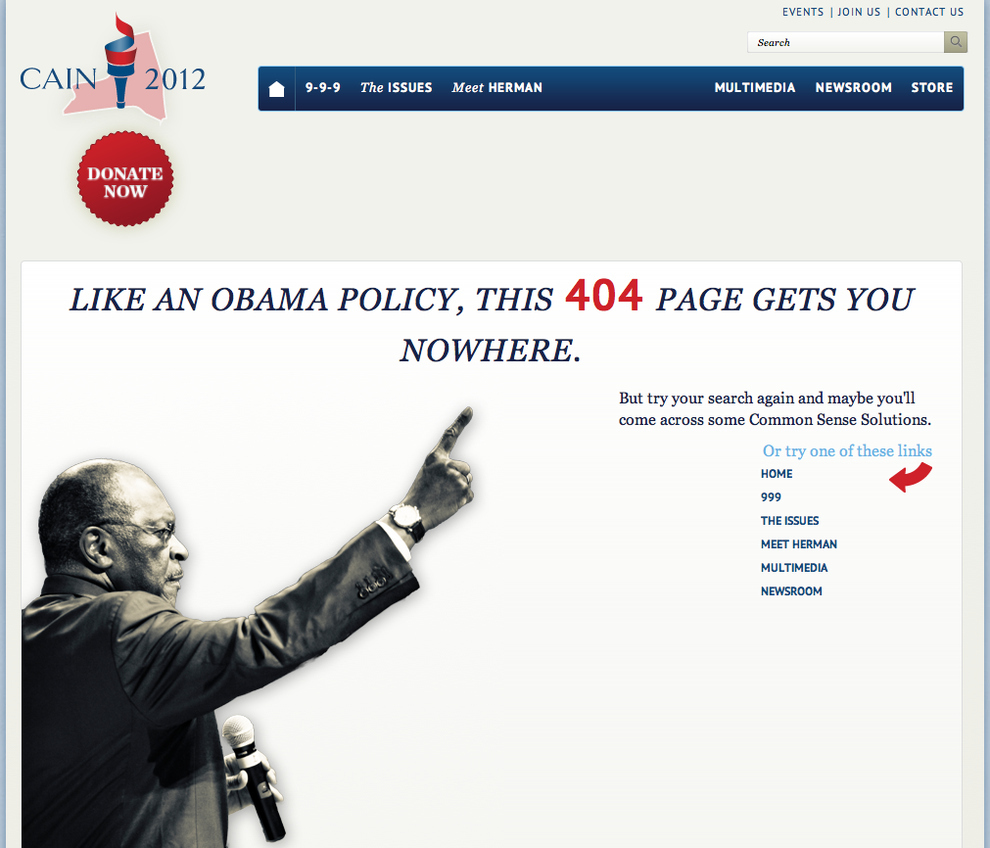 Herman Cain Has A Pretty Clever 404 Page