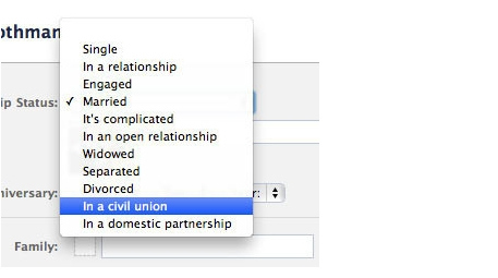 Facebook Adds Civil Unions/Domestic Partnership Options To Profiles