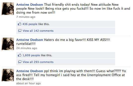 Antoine Dodson's Facebook Breakdown