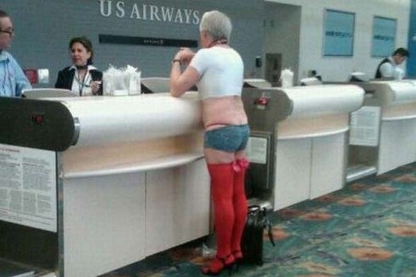 Man's Stripper Outfit At The Airport