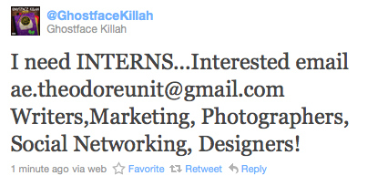 Ghostface Killah Is Looking For Interns