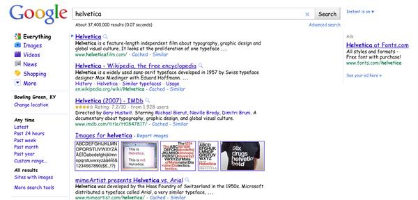Type Helvetica Into Google