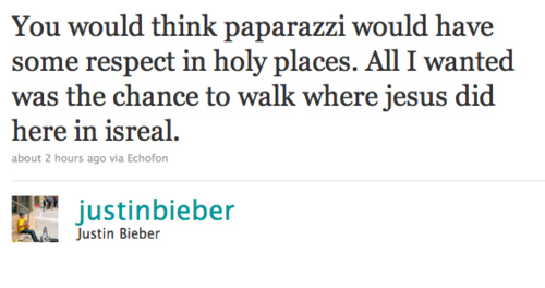 Justin Bieber Just Wanted To Walk Where Jesus Did!!